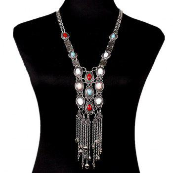 Faux Gem Oval Tassel Chains Necklace