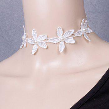 Faux Pearl Lace Floral Wedding Jewelry Choker - WHITE