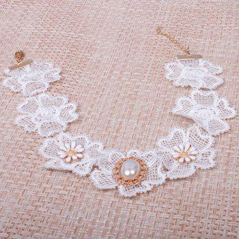 Floral Faux Pearl Wedding Jewelry Choker - WHITE