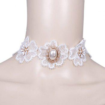 Floral Faux Pearl Wedding Jewelry Choker