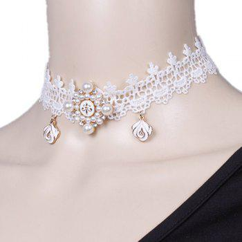 Flower Faux Pearl Lace Choker Necklace