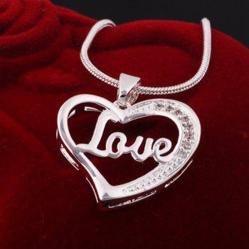 Heart Engraved Love Necklace - SILVER