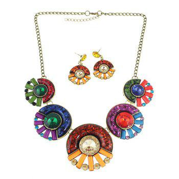Bohemia Faux Crystal Round Necklace and Earrings