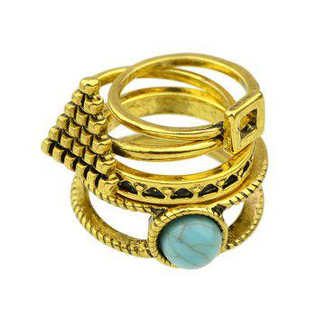 Faux Turquoise Geometric Rings - GOLDEN ONE-SIZE
