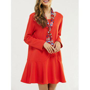 Oversized Sweet Flounce Pure Color Trumpet Dress With Necktie