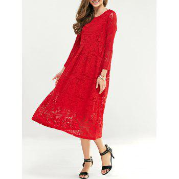 Lace Tea Length Long Sleeve Party Dress