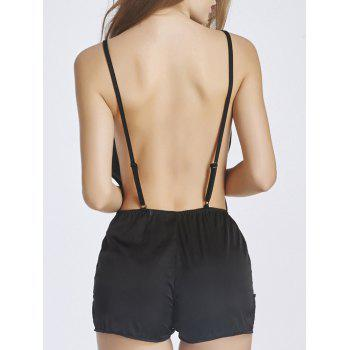 Alluring Women's Lace Panel Open Back Romper Sleepwear - BLACK BLACK