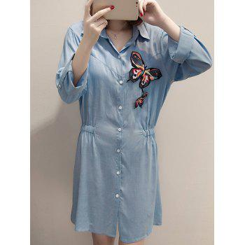 Stylish Butterfly Embroidered Shirt Dress For Women