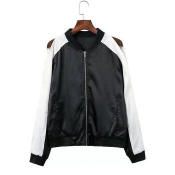 Raglan Split Sleeve Baseball Jacket