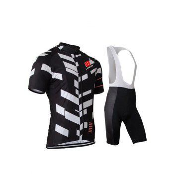 Active Black Bibshort + Short Sleeves Color Blocks Bike Jerseys Twinset For Men