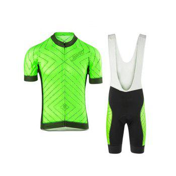 Chic Striped Short Sleeves Jacket + Spliced Bibshort Bike Jerseys Twinset For Men