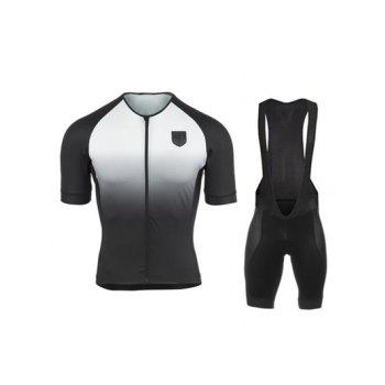 Gradient Color Short Sleeves Jacket + Black Bibshort Cycling Jerseys Twinset For Men