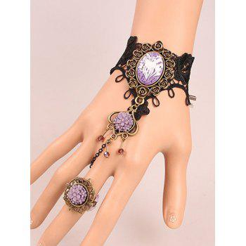 Resin Flower Bracelet with Ring