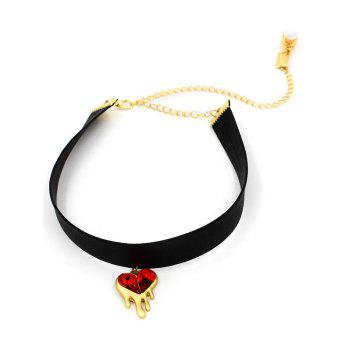 Faux Ruby Heart Choker Necklace