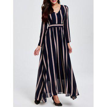 OL Vertical Stripe V Neck High Waist Maxi Dress
