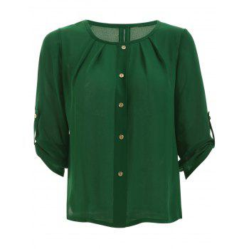 Candy Color 3/4 Sleeve Scoop Neck Blouse