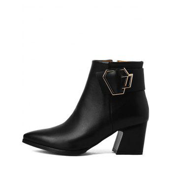 Pointed Toe Buckle Strap Ankle Boots - BLACK 37