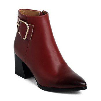 Pointed Toe Buckle Strap Ankle Boots