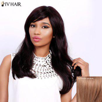 Fluffy Natural Wave Capless Human Hair Charming Long Side Bang Siv Hair Wig For Women