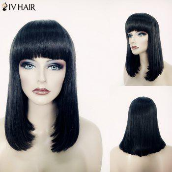 Bob Style Jet Black Capless Human Hair Elegant Medium Siv Hair Full Bang Straight Wig For Women