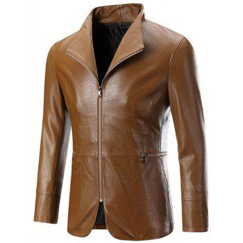 Zippered Long Sleeve Men's Embossed Leather Jacket