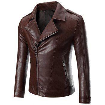 Epaulet Zippered Lapel Long Sleeve Men's Faux Leather Jacket