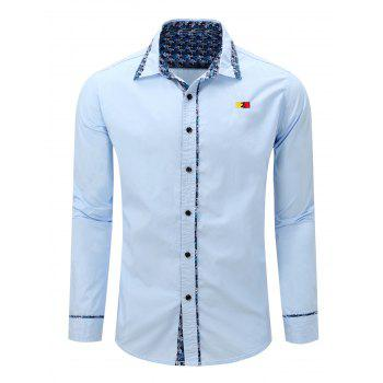 Turn-Down Long Embroidery Floral Print Splicing Sleeve Men's Shirt