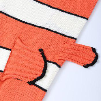 Hot Sale Blanc et Orange Stripe tricoté Mermaid Blanket For Children - Orange / Blanc