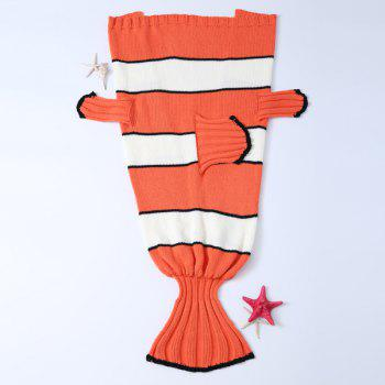 Hot Sale Cartoon Stripe Knitted Clownfish Blanket For Kids - ORANGE + WHITE ORANGE / WHITE