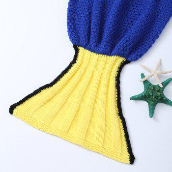 Knitted Cartoon Inspired Warm Mermaid Blanket For Kids - BLUE/YELLOW