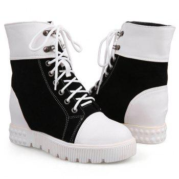 Casual Hidden Wedge and Color Block Design Women's Short Boots - BLACK 37