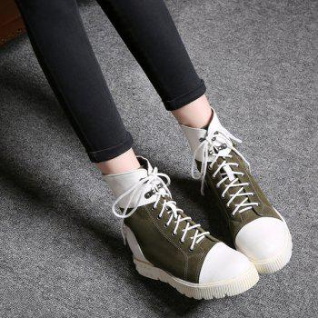 Casual Hidden Wedge and Color Block Design Women's Short Boots - ARMY GREEN 39