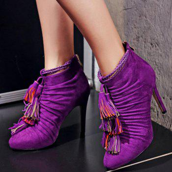 Stylish Ruched and Tassel Design Women's Ankle Boots - PURPLE 37