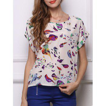 Charming Bird Print Chiffon Loose-Fitting Women's Blouse