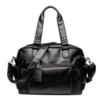 Casual Black Color and Multi Zips Design Men's Tote Bag