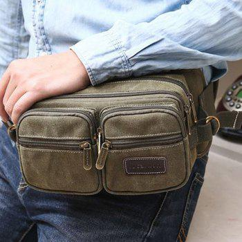 Concise Zippers et Toiles design Men 's  Messenger Bag - Vert Armée