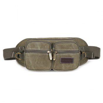 Concise Zippers and Canvas Design Men's Messenger Bag - ARMY GREEN ARMY GREEN