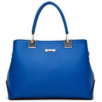 Buy Trendy PU Leather Metal Design Women's Totes BLUE