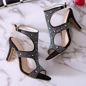 Stylish Rhinestones and Cut Out Design Women's Sandals