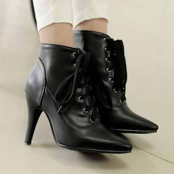 Trendy Lace-Up and Pointed Toe Design Women's Ankle Boots - BLACK 43