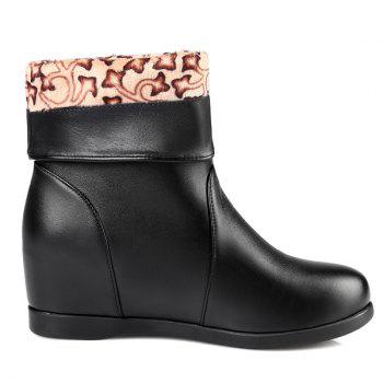 Fashionable Hidden Wedge and Ruched Design Women's Mid-Calf Boots - BLACK 42