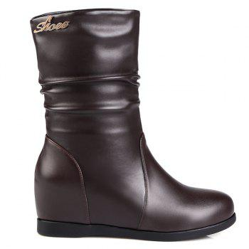 Fashionable Hidden Wedge and Ruched Design Women's Mid-Calf Boots - DEEP BROWN 40