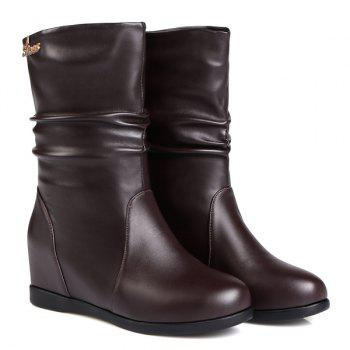 Fashionable Hidden Wedge and Ruched Design Women's Mid-Calf Boots - DEEP BROWN 37
