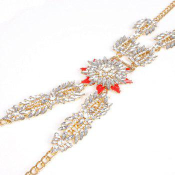 Fake Crystal Floral Body Chain -  GOLDEN