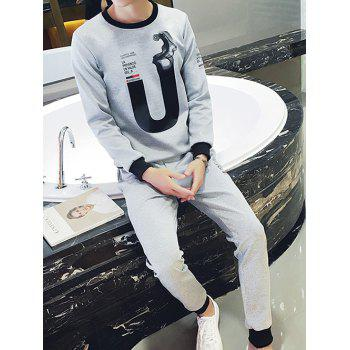 Round Neck 3D Letters Print Plus Size Long Sleeve Men's Sport Suit ( Sweatshirt + Pants )