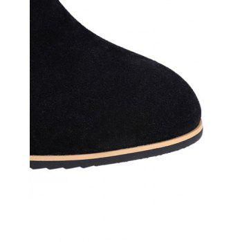 Concise Chunky Heel and Elastic Band Design Women's Ankle Boots - BLACK 37
