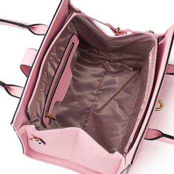 Graceful Metal and PU Leather Design Women's Totes - PINK