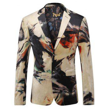 Printed Breast Pocket Lapel Long Sleeve Men's Blazer