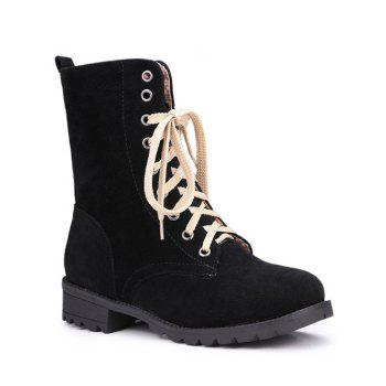 Trendy Lace-Up and Solid Color Design Women's Combat Boots