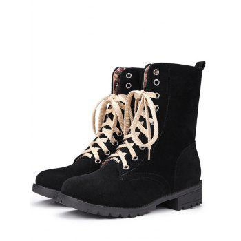 Trendy Lace-Up and Solid Color Design Women's Combat Boots - BLACK 39